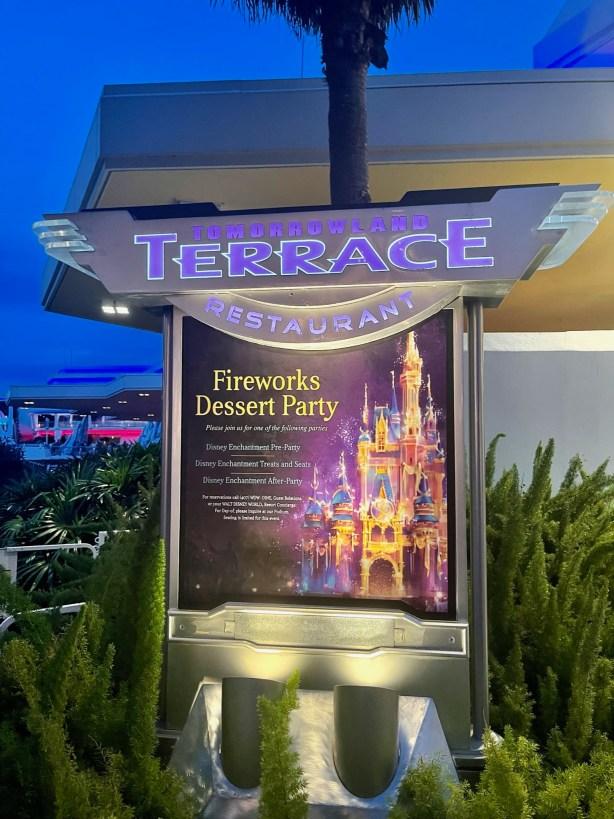 tomorrowland terrace fireworks dessert party