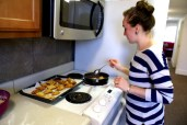 Me frying up some beignets.