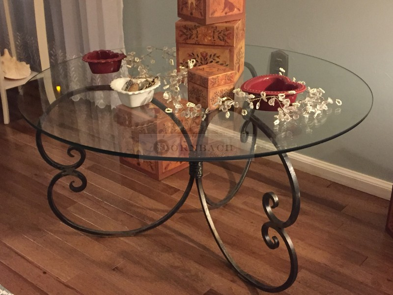 handmade forged iron round glass coffee table 36 inch