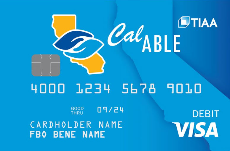Image of CalABLE Visa Prepaid Card.