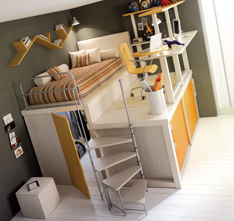 Lofted SpaceSaving Furniture for Bedroom Interiors