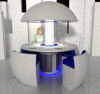 Futuristic Transforming Dining Room Table-and-Chairs Set