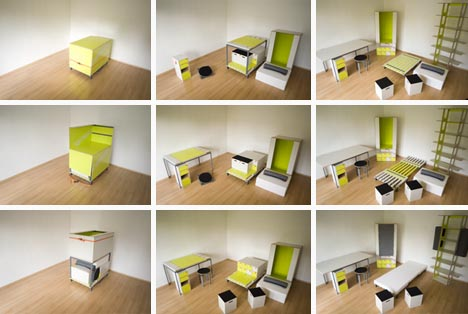 room in a box: transforming fold-out furniture design