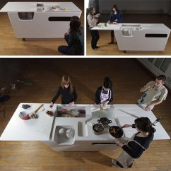 Folding Kitchen Island Round Rooster Rugs Fold Out Furniture Combined Work Table All Modern