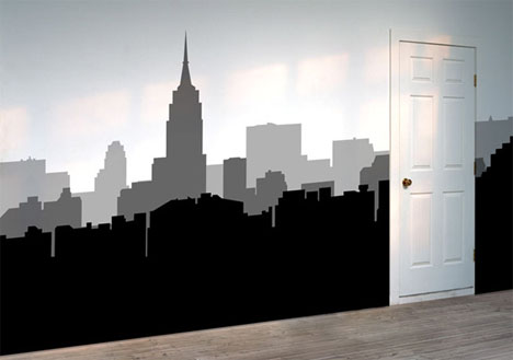 wall sticker black white city