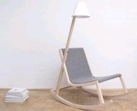 Wooden Rocking Chair + Rocker-Powered LED Lamp Design