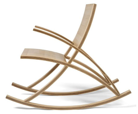 Seat Back Rocker On Modern CurvedWood Rocking Chair
