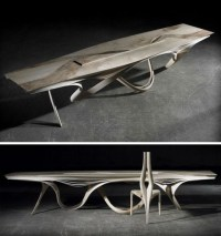 Formed Wood Furniture: Dining Table & Curved-Chair Set
