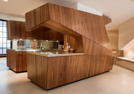 Private Island Ultra Modern Kitchen 'Floats' In White Space