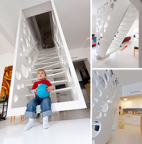 Swiss Cheesed Playfully Suspended  Perforated Staircase