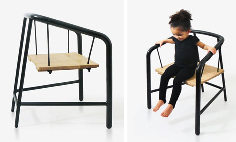 swing chair metal cool dining chairs rope suspended steel wood is simply fun florent