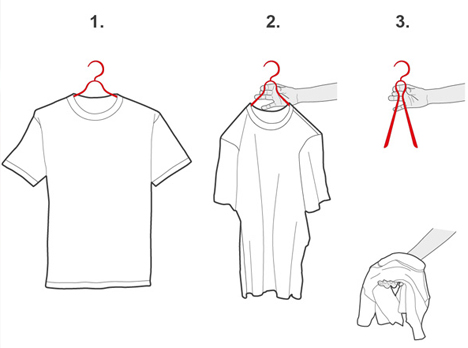 In a Pinch: Simple Squeeze-to-Fold Clothes Hanger Concept