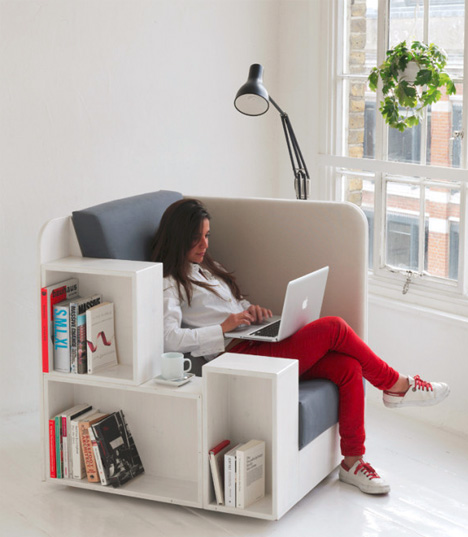 Reading Chair Seat with BuiltIn Book  Magazine Shelves