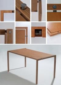 Folding Wood Furniture: Elegantly Slim Table & Chair Pair