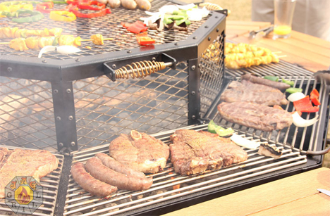 bbq picnic table lets everyone cook
