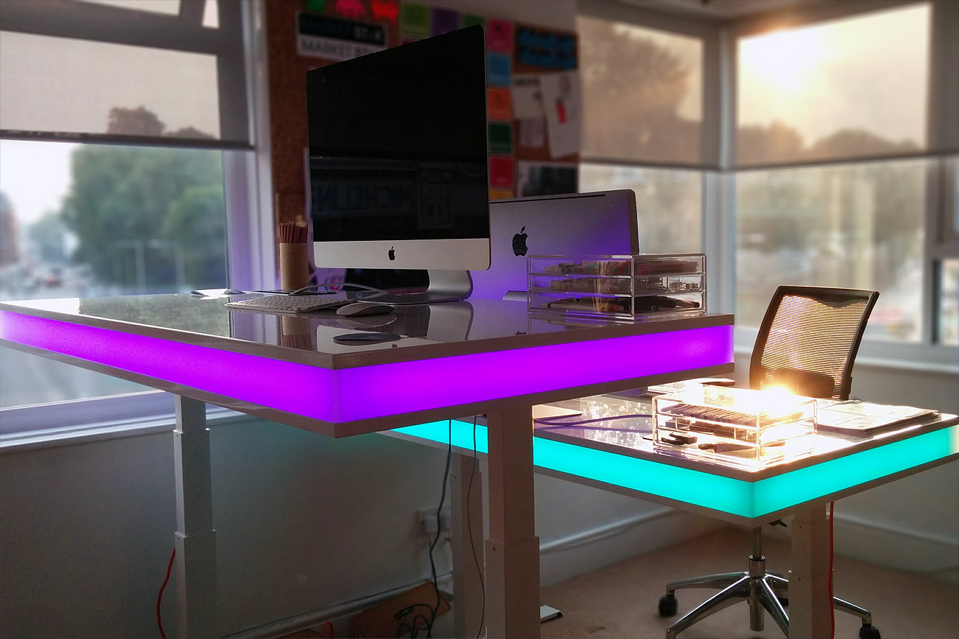 led table and chairs folding chair into bed tableair smart desk changes height via sensing module
