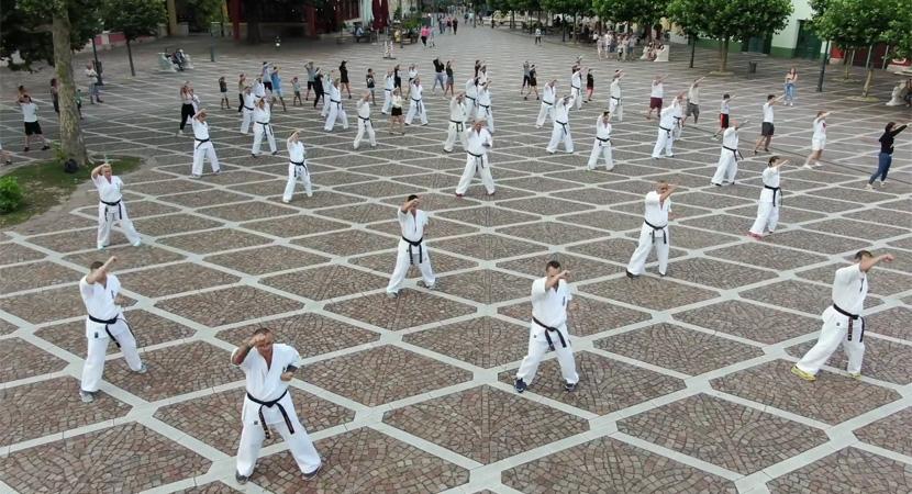 Flashmobot szerveztek az esztergomi karatésok