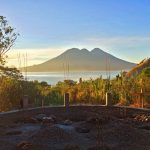 Golden hour at the Zendo Yoga Shala construction site at the Lake Atitlan in Guatemala