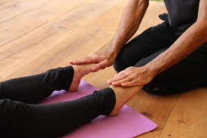 Savasana adjustments - pointing the toes
