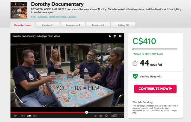 The homepage for our fundraising campaign to raise $10,000 for production