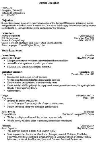 good resume sections