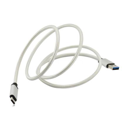 BLU Vivo 5, 6, XL Mobile Phone USB-C to USB-A Charging Charge 'n Sync Data Laptop PC Silver Lead Wire Cable