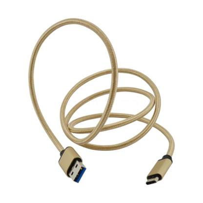 Meizu PRO 5, MX6 Mobile Phone USB-C to USB-A Charging Charge 'n Sync Data Laptop PC Gold Lead Wire Cable
