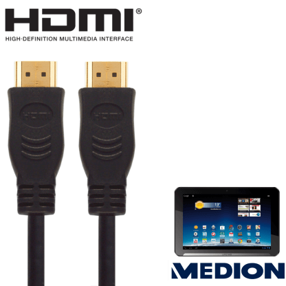 Medion Akoya, Erazer, The Touch 300 Laptop PC HDMI to HDMI TV 5m Long Fuse Gold Cord Wire Lead Cable