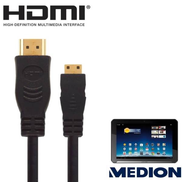 """Medion Lifetab 10.1"""" Android Tablet PC HDMI Mini to HDMI TV 2.5m Gold Cord Wire Lead Cable"""