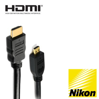 Nikon Coolpix S9600, P600, S9700, S5300 Camera HDMI Micro TV Monitor 2m Gold Wire Lead Cord Cable