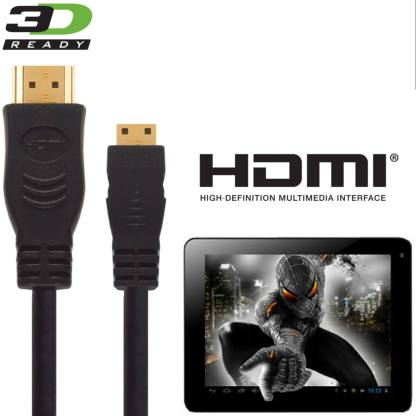 PolaTab Tablet PC HDMI Mini to HDMI TV 3m Gold Cord Wire Lead Cable