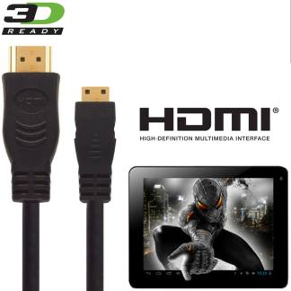 PolaTab Tablet PC HDMI Mini to HDMI TV 3m Gold Cord Wire Lead Cable