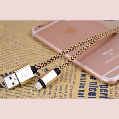 Premium Braided iPhone 5C, 5S, SE, 6S Plus, iPad Mini 3, 4 / Air 2 & iPod Nano / Touch USB Laptop PC Computer / Charger Lightning Lead Wire Cord Cable - Gold