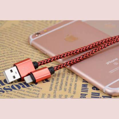 Premium Braided iPhone 7 Plus, 6S, SE, iPad Pro & iPod USB Laptop PC Computer / Charger Lightning 3m Long Lead Wire Cord Cable - Red