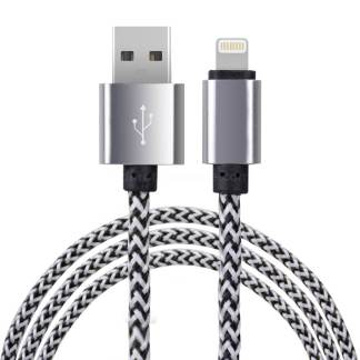 Premium Braided iPhone 5C, 5S, SE, 6S Plus, iPad Mini 3, 4 / Air 2 & iPod Nano / Touch USB Laptop PC Computer / Charger Lightning Lead Wire Cord Cable - White