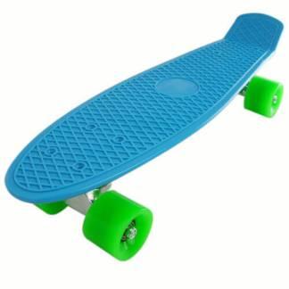 Retro Deck Penny Board Style Skateboard Complete 22 inch, Blue Board with Green Wheels