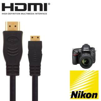 Nikon D3200, D5300, D7100 Camera HDMI Mini TV 5m Long Gold Cord Wire Lead Cable