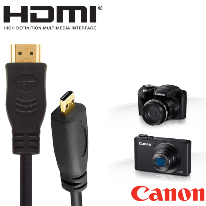 Canon PowerShot SX610 HS Camera HDMI Micro TV Monitor 2m Long Gold Wire Lead Cord Cable