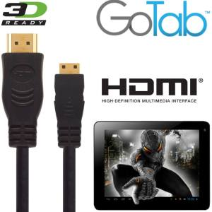 GoTab X, GoNote2 Tablet PC HDMI Mini to HDMI TV 3m Gold Cord Wire Lead Cable