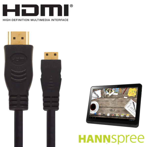 """Hannspree 9.7"""", 10.1"""", 13.3"""" Android Tablet PC HDMI Mini to HDMI TV 2.5m Gold Cord Wire Lead Cable"""