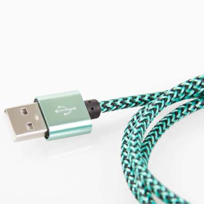 iPhone 6S Plus, SE, 5S, 5C, iPad Air 2, Mini 4, 3 & iPod Touch / Nano USB Laptop PC Computer / Charger Lightning Braided Lead Wire Cord Cable - Jade Silver