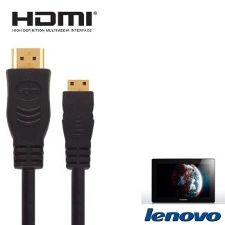Lenovo ThinkPad Tablet 2, Yoga HDMI Mini to HDMI TV 2.5m Gold Cord Wire Lead Cable