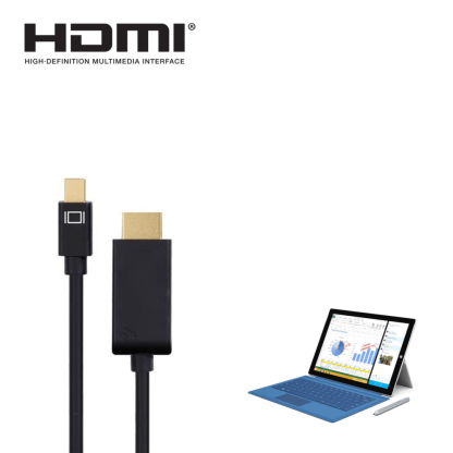Microsoft Surface Pro 2, 3, 4 Mini DisplayPort(DP) to HDMI 4K TV Monitor 1.5m Gold Cord Wire Lead Cable
