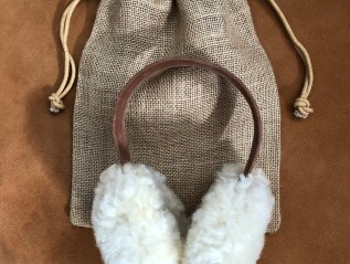 Sheepskin Ear Muffs with burlap bag