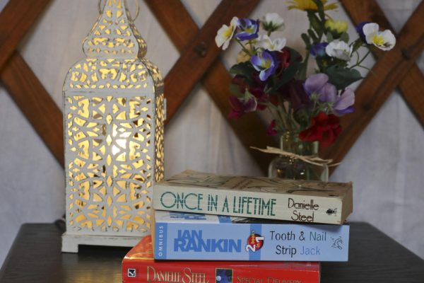 Stack of Books In a Yurt