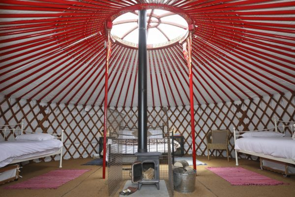 Interior of a Yurt With Wood Burner