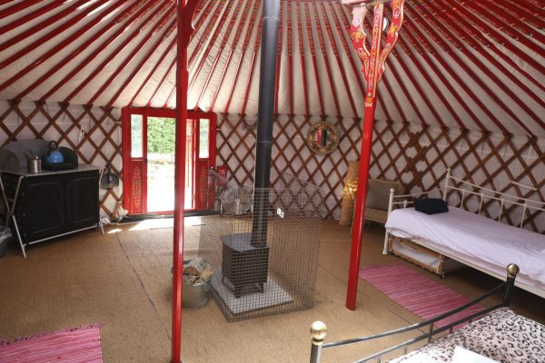 Interior of a yurt at Caalm Camp