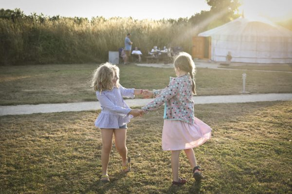 Children Playing on a Glamping Holiday