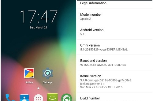 Omni ROM Android 5.1 for Sony Xperia X