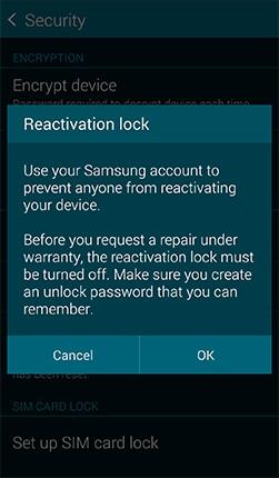 Reactivation Lock Samsung Security feature